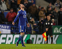 Leicester City's Christian Fuchs despairs after missing a penalty<br /> <br /> Photographer Andrew Kearns/CameraSport<br /> <br /> English League Cup - Carabao Cup Quarter Final - Leicester City v Manchester City - Tuesday 18th December 2018 - King Power Stadium - Leicester<br />  <br /> World Copyright &copy; 2018 CameraSport. All rights reserved. 43 Linden Ave. Countesthorpe. Leicester. England. LE8 5PG - Tel: +44 (0) 116 277 4147 - admin@camerasport.com - www.camerasport.com