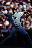 Freddy Garcia of the Seattle Mariners during a game against the Anaheim Angels at Angel Stadium circa 1999 in Anaheim, California. (Larry Goren/Four Seam Images)