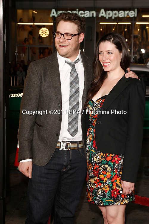 """LOS ANGELES - MAR 14:  Seth Rogen, fiance Lauren Miller arriving at the """"Paul"""" US Premiere at Grauman's Chinese Theater on March 14, 2011 in Los Angeles, CA"""
