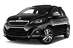 Stock pictures of low aggressive front three quarter view of 2016 Peugeot 108 Allure 5 Door Micro Car Low Aggressive
