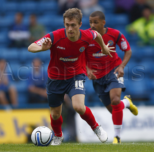 11/09/2010. Shrewsbury's Jake Robinson leads a first half midfield attack. Gillingham v Shrewsbury Town. Division 2 match at Priestfield Stadium, Gillingham, Kent, England.