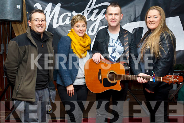 Marty Mone fans in attendance at his meet and greet in the Meadowlands Hotel on Saturday afternoon last. L to r, Mark Greer, Elaine Walsh O'Shea, Marty Mone and Denise Vickers.