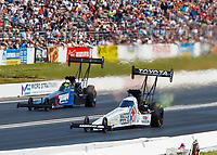 Jun 11, 2017; Englishtown , NJ, USA; NHRA top fuel driver Antron Brown (near) defeats Blake Alexander during the Summernationals at Old Bridge Township Raceway Park. Mandatory Credit: Mark J. Rebilas-USA TODAY Sports