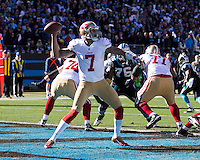 The Carolina Panthers played the San Francisco 49ers at Bank of America Stadium in Charlotte, NC in the NFC divisional playoffs on January 12, 2014.  The 49ers won 23-10.San Francisco 49ers quarterback Colin Kaepernick (7)