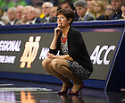 Mar. 31, 2014; Head coach Muffet McGraw watches during the second half against the Baylor Bears in the finals of the Notre Dame regional in the 2014 NCAA Tournament at the Purcell Pavilion. Notre Dame won 88-69. Photo by Barbara Johnston/University of Notre Dame