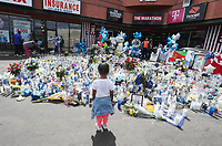 APR 04 the Nipsey Hussle memorial outside his Marathon Clothing store