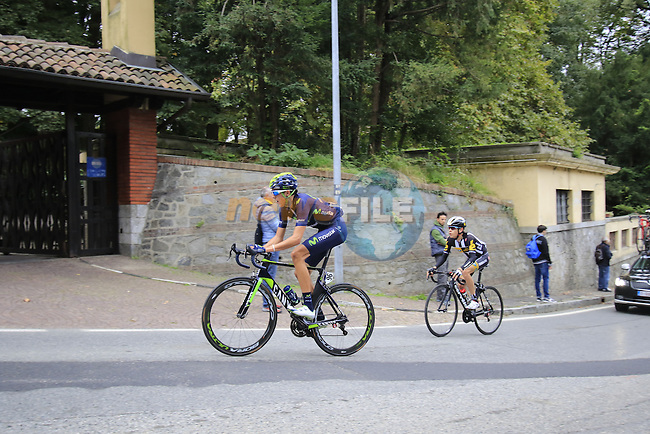 Marc Soler Gimenez (ESP) Movistar tackles the final climb of Superga near the finish of the 2015 96th Milan-Turin 186km race starting at San Giuliano Milanese, Italy. 1st October 2015.<br /> Picture: Eoin Clarke | Newsfile