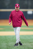 Florida State Seminoles head coach Mike Martin (11) walks back to the dugout during the game against the Wake Forest Demon Deacons at Wake Forest Baseball Park on April 19, 2014 in Winston-Salem, North Carolina.  The Seminoles defeated the Demon Deacons 4-3 in 13 innings.  (Brian Westerholt/Four Seam Images)