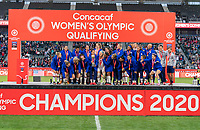 CARSON, CA - FEBRUARY 9: The USWNT stands onstage during a game between Canada and USWNT at Dignity Health Sports Park on February 9, 2020 in Carson, California.
