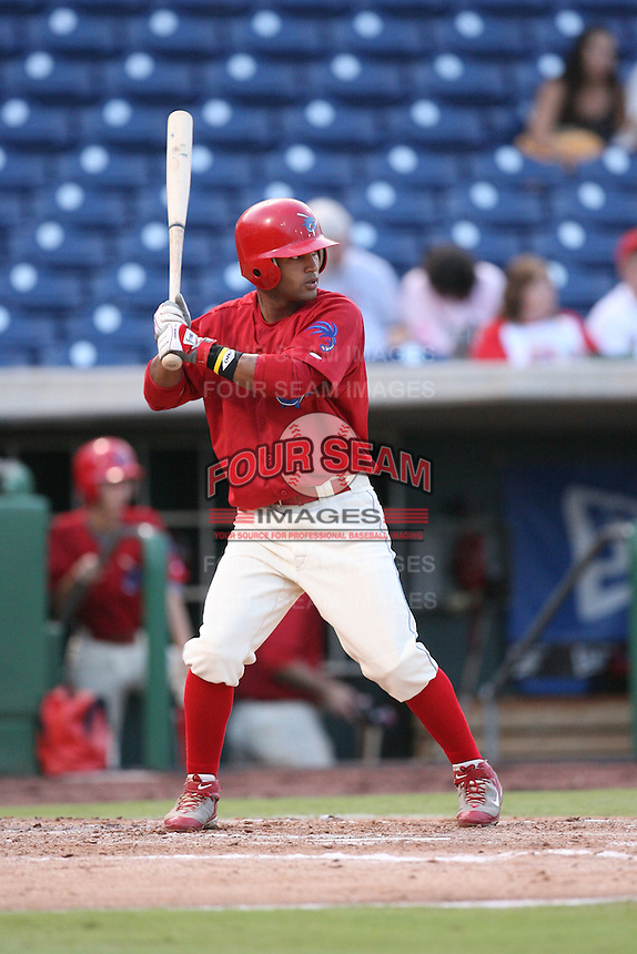 August 12, 2008: Jesus Villegas (23) of the Clearwater Threshers at Bright House Field in Clearwater, FL. Photo by: Chris Proctor/Four Seam Images