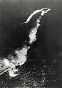 December 10, 1941 : South China Sea, Malaysia -The sinking of Prince of Wales and Repulse was a World War II naval engagement which illustrated the effectiveness of aerial attacks against naval forces that were not protected by air cover and the resulting importance of including an aircraft carrier in any major fleet action. British Royal Navy battleship HMS Prince of Wales and battlecruiser HMS Repulse were attacked by land-based bombers and torpedo bombers of the Imperial Japanese Navy on 10 December 1941. In Japanese, the engagement was referred to as the Naval Battle of Malaya. (Photo by Kingendai Photo Library/AFLO)