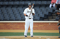Bobby Seymour (3) of the Wake Forest Demon Deacons steps up to the plate during the game against the Davidson Wildcats at David F. Couch Ballpark on May 7, 2019 in  Winston-Salem, North Carolina. The Demon Deacons defeated the Wildcats 11-8. (Brian Westerholt/Four Seam Images)