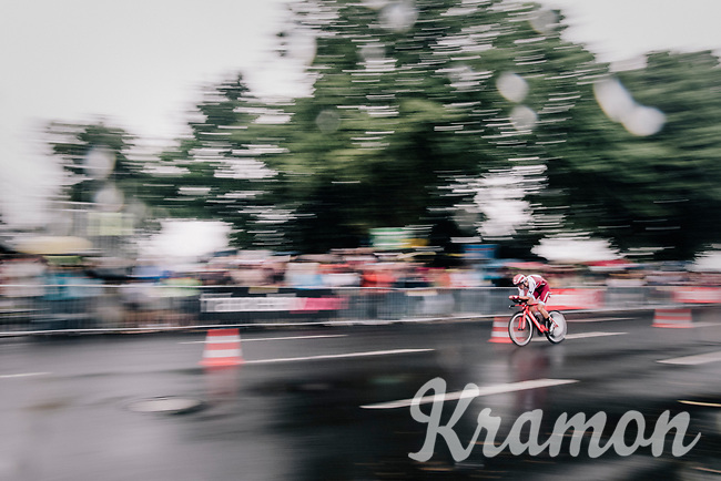 Rick Zabel (DEU/Katusha) speeding along<br /> <br /> 104th Tour de France 2017<br /> Stage 1 (ITT) - D&uuml;sseldorf &rsaquo; D&uuml;sseldorf (14km)