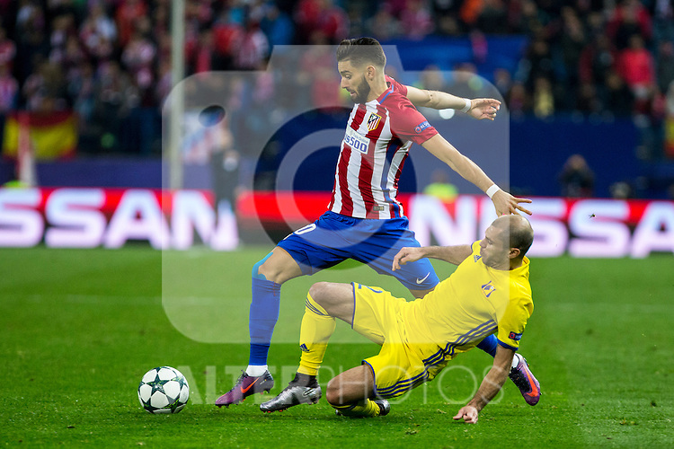 Atletico de Madrid's Yannick Ferreira Carrasco FC Rostov's Timofei Kalachev during the match of UEFA Champions League between Atletico de Madrid and FC Rostov, at Vicente Calderon Stadium,  Madrid, Spain. November 01, 2016. (ALTERPHOTOS/Rodrigo Jimenez)
