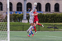 Allston, MA - Sunday, May 1, 2016:  Boston Breakers goalkeeper Abby Smith (14) and Portland Thorns FC midfielder Dagny Brynjarsdottir (11) in a match at Harvard University.