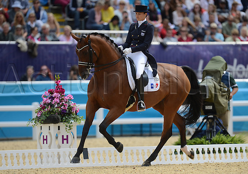 03.08.2012. London England.  Dressage rider Jessica Michel of France performs with her horse Riwera in the London 2012 Olympic Games dressage competition at Greenwich Park in London, Britain, 03 August 2012.