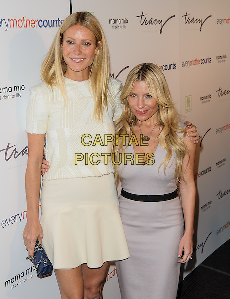 Gwyneth Paltrow, Tracy Anderson.The Tracy Anderson Method Pregnancy Project Launch, New York, New York, USA 5th August 2012.half length top skirt dress sleeves arm around best friends business partner tall shirt grey gray white clutch bag blue chanel .CAP/ADM/BP.©Byron Purvis/AdMedia/Capital Pictures.