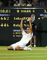 28.06.2012 The All England Lawn Tennis and Croquet Club. London, England. Lukas Rosol during the game on Centre Court between Lukas Rosol ( CZE ) v Rafael Nadal ( ESP ) at The Wimblendon Tournament. In a thrilling 5-set game that went into partial darkness, Rosol grabbed the last set by a score of 6-7 (9-11) 6-4 6-4 2-6 6-4 and knocked Nadal out of the tournament.