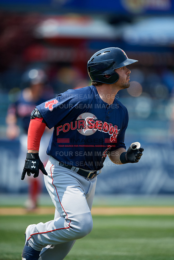 Portland Sea Dogs third baseman Chad De La Guerra (43) runs to first base during the second game of a doubleheader against the Reading Fightin Phils on May 15, 2018 at FirstEnergy Stadium in Reading, Pennsylvania.  Reading defeated Portland 9-8.  (Mike Janes/Four Seam Images)