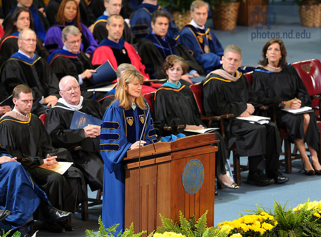 May 21, 2011; Author and founder of poverty-relief venture Jacqueline Novogratz speaks at the Mendoza College of Business graduate commencement at the Purcell Pavilion. ..Photo by Matt Cashore/University of Notre Dame