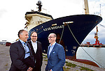 "CALAIS - FRANCE - 20 May 2015 -- In October 2015 the French ship ""Ile de Brehat"" will start laying a 1200 km long subsea optical cable from Helsinki to Rostock Germany. -- Cinia CEO Ari-Jussi Knaapila, Hetzner Online Development Manager Daniel Biller and Cinia Vice-President Jukka-Pekka Joensuu believe that if more new datacenters are built on the route, it wound bring in investments mounting to billions of Euros and new work places in the thousands to the region. -- PHOTO: Juha ROININEN / EUP-IMAGES"