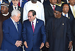 Egypt's President Abdel-Fattah el-Sisi talks to Palestina's President Mahmoud Abbas  at the 30th Ordinary Session of the Assembly of the Heads of State and the Government of the African Union in Addis Ababa, Ethiopia January 28, 2018. Photo by Egyptian President Office