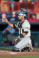 Akron RubberDucks catcher Alex Lavisky (13) during a game against the Erie SeaWolves on May 17, 2014 at Jerry Uht Park in Erie, Pennsylvania.  Erie defeated Akron 2-1.  (Mike Janes/Four Seam Images)