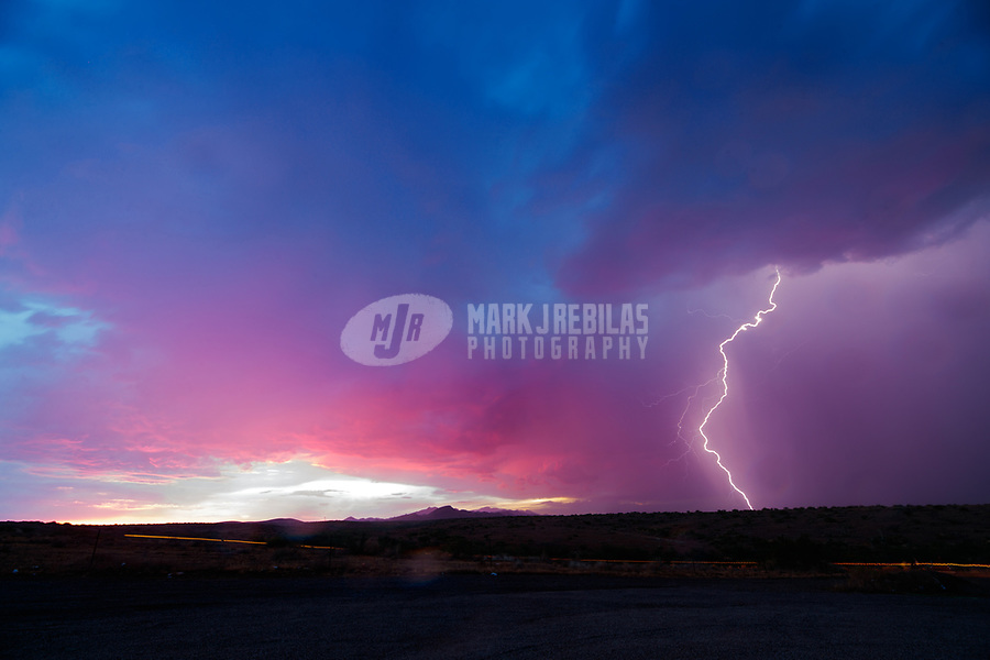 Lightning, storm, storm chasing, storm chaser, Arizona, weather, clouds, desert, mountains, rain, monsoon, sunset
