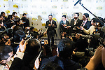 SoftBank Mobile Corp. president Ken Miyauchi answers questions from the press after a press conference to announce the new SoftBank Electricity service plan at the company's headquarters on January 12, 2016, Tokyo, Japan. In partnership with Tokyo Electric Power Company (TEPCO), Japan's third largest internet and telecommunications corporation will join the electricity retail market offering discounted rates from April 1st. (Photo by Rodrigo Reyes Marin/AFLO)