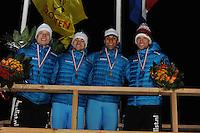 SCHAATSEN: BIDDINGHUIZEN: Flevonice, 19-02-2016, NK Kortebaan, Pim Schipper, Jesper Hospes (3e), Daidai Ntab (Nederlands kampioen), Michel Mulder (2e), ©foto Martin de Jong