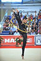 Alina Maksymenko of Ukraine performs hoop during event finals  at 2010 Grand Prix Marbella at San Pedro Alcantara, Spain on May 16, 2010. Alina placed 12th AA at Marbella 2010. (Photo by Tom Theobald).