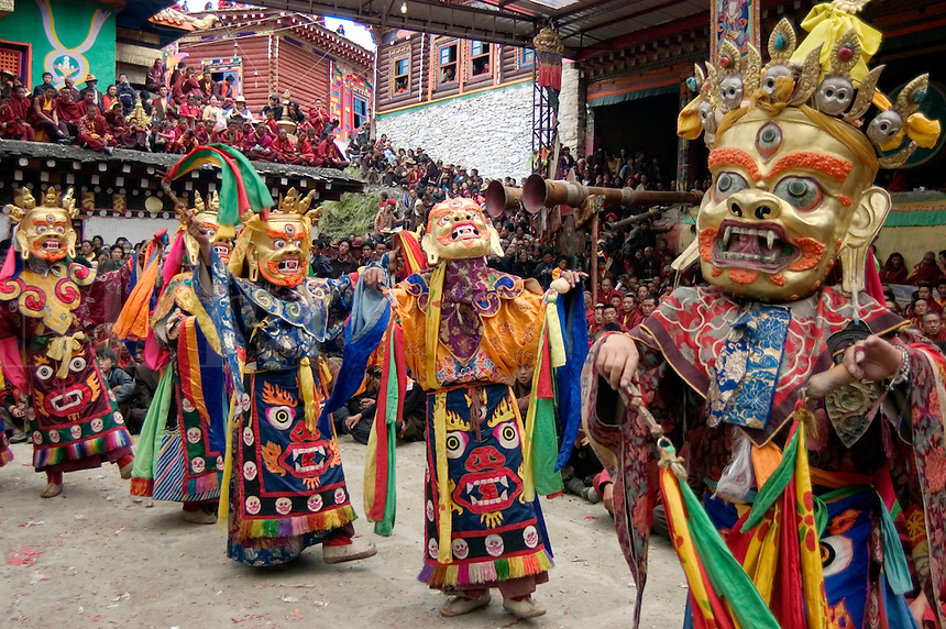 Protector deities dance at the Monlam Chenpo, Katok Dorjeden Monastery - Kham, (eastern, Tibet), Sichuan Province, China