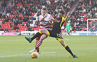 Doncaster Rovers' Tommy Rowe battles with Rotherham United's Ryan Williams<br /> <br /> Photographer Mick Walker/CameraSport<br /> <br /> The EFL Sky Bet League One - Doncaster Rovers v Rotherham United - Saturday 11th November 2017 - Keepmoat Stadium - Doncaster<br /> <br /> World Copyright &copy; 2017 CameraSport. All rights reserved. 43 Linden Ave. Countesthorpe. Leicester. England. LE8 5PG - Tel: +44 (0) 116 277 4147 - admin@camerasport.com - www.camerasport.com