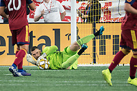 FOXBOROUGH, MA - SEPTEMBER 21: Andrew Putna #51 of Real Salt Lake saves a shot on goal during a game between Real Salt Lake and New England Revolution at Gillette Stadium on September 21, 2019 in Foxborough, Massachusetts.
