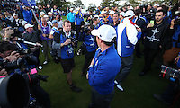 Cameras around Rory McIlroy (EUR) on the last during Sunday's Singles at the 2014 Ryder Cup from Gleneagles, Perthshire, Scotland. Picture:  David Lloyd / www.golffile.ie