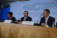 Washington, DC - April 15, 2016: Lou Jiwei (c), Chinese Minister of Finance, holds a news conference on behalf of the G20 finance ministers and Central Bank governors at the World Bank Headquarters in the District of Columbia during the IMF/World Bank spring Meetings, April 15, 2016.  (Photo by Don Baxter/Media Images International)