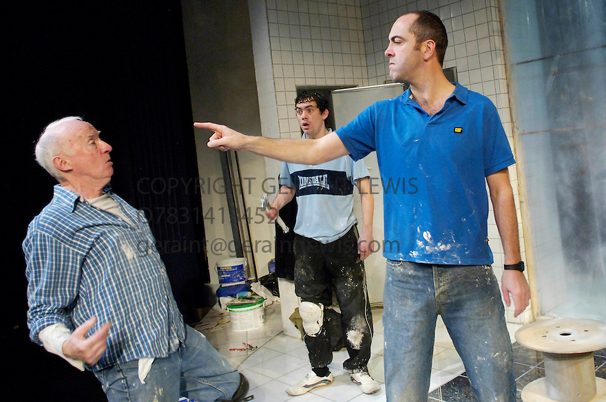 Shoot The Crow by Owen McCafferty,directed by Robert Delamere. With James Nesbitt [r],  Jim Norton [l],Packy Lee. Opens at Trafalgar Studios on 11/10/05. CREDIT Geraint Lewis