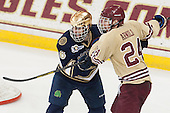 Andy Ryan (ND - 6), Bill Arnold (BC - 24) - The Boston College Eagles defeated the visiting University of Notre Dame Fighting Irish 4-2 to tie their Hockey East quarterfinal matchup at one game each on Saturday, March 15, 2014, at Kelley Rink in Conte Forum in Chestnut Hill, Massachusetts.