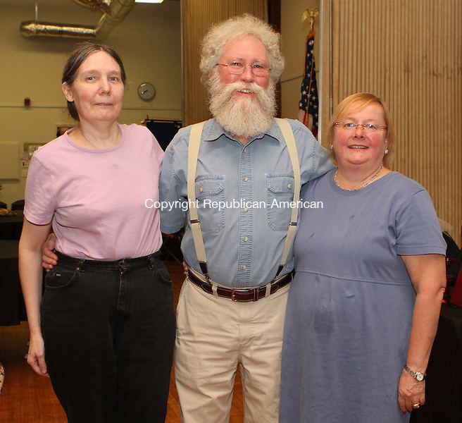 """Beacon Falls, CT092014MK15 (from left) Barbara Dlugos with Alexander and Anne Dembski gathered recently to celebrate The Beacon Falls Roatery Club's """"Best Grapes in the Valley"""" home wine competition and wine tasting at St. Michael Church. Michael Kabelka / Republican-American"""