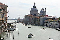 Veduta del Canal Grande a Venezia. Sullo sfondo, la Basilica di Santa Maria della Salute.<br /> View of the Grand Canal, in Venice. In background, St. Mary of Health Basilica.<br /> UPDATE IMAGES PRESS/Riccardo De Luca