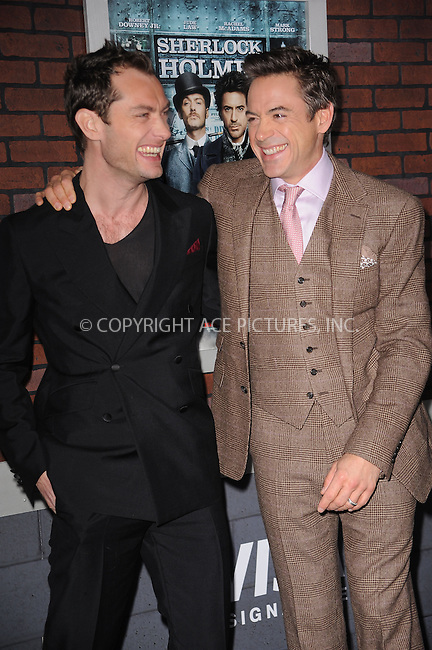 WWW.ACEPIXS.COM . . . . . ....December 17 2009, New York City....Actors Robert Downey Jr and Jude Law arriving at the New York premiere of 'Sherlock Holmes' at the Alice Tully Hall, Lincoln Center on December 17, 2009 in New York City.....Please byline: KRISTIN CALLAHAN - ACEPIXS.COM.. . . . . . ..Ace Pictures, Inc:  ..(212) 243-8787 or (646) 679 0430..e-mail: picturedesk@acepixs.com..web: http://www.acepixs.com