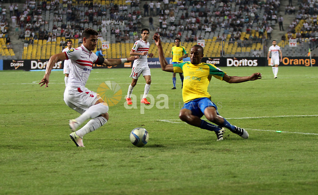 South Africa's Mamelodi Sundowns players and Egypt's Zamalek club compete during the CAF Champions League final football match between Zamalek and Mamelodi Sundowns on October 23, 2016 at the Borg el-Arab Stadium near Alexandria. Photo by Stringer