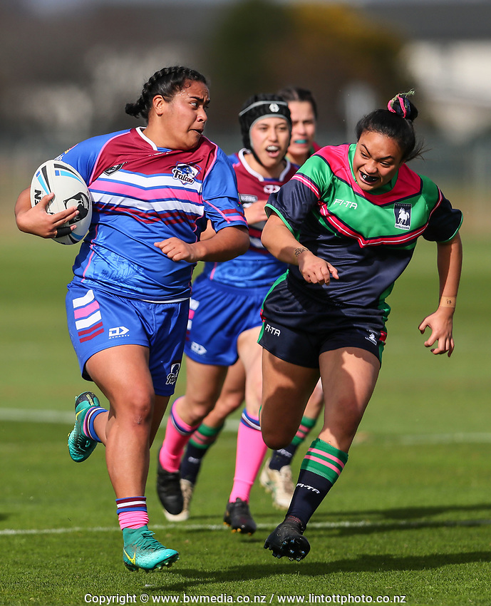 Action from the match between Wai-Coa-Bay and Akarana Falcons, during 2019 NZRL National Women's Rugby League Tournament at Bruce Pullman Park in Auckland, New Zealand on Friday, 26 July 2019. Photo: Simon Watts / www.bwmedia.co.nz