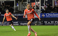 Paul Benson of Luton Town celebrates his second goal during the Sky Bet League 2 match between Luton Town and Northampton Town at Kenilworth Road, Luton, England on 12 December 2015. Photo by Liam Smith/Prime Media Images.