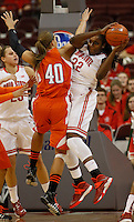Ohio State Buckeyes center Darryce Moore (22) grabs rebound againstBowling Green Falcons forward Jill Stein (40) at Value City Arena in the second half Columbus Nov. 24, 2013.(Dispatch photo by Eric Albrecht)