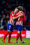 Jorge Resurreccion Merodio, Koke, of Atletico de Madrid hugs teammate Antoine Griezmann after the La Liga 2018-19 match between Atletico de Madrid and RCD Espanyol at Wanda Metropolitano on December 22 2018 in Madrid, Spain. Photo by Diego Souto / Power Sport Images