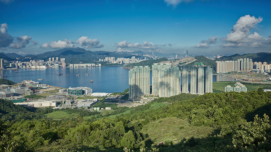 View From High Junk Peak: Tseung Kwan O Industrial Area, Chai Wan And Lohas Park.  Hong Kong.