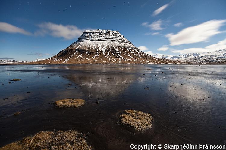 Mountain Kirkjufell at night. Grundarfjörður in Snæfellsnes, west Iceland
