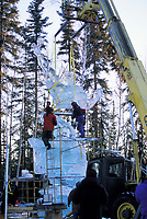 Ice sculptors at the World Ice Art Championships in Fairbanks, Alaska, sculpt giant scenes from ice harvested locally in ponds.