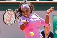 June 1, 2015: Serena Williams of United States of America in action in a 4th round match against Sloane Stephens of United States of America on day nine of the 2015 French Open tennis tournament at Roland Garros in Paris, France. Williams won 16 75 63. Sydney Low/AsteriskImages